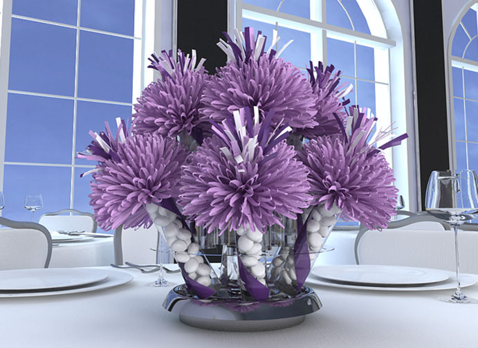Purple and White Birthday Centerpieces